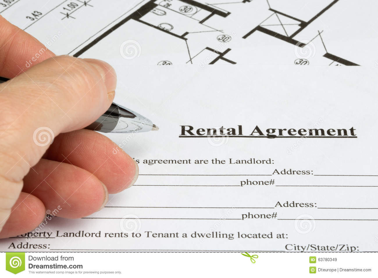 Filling Out A Rental Agreement With Floorplan Stock Image Image Of