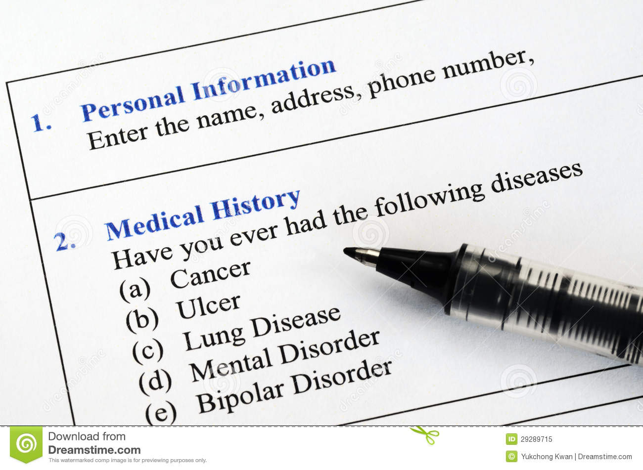 filling the patient medical history questionnaire stock