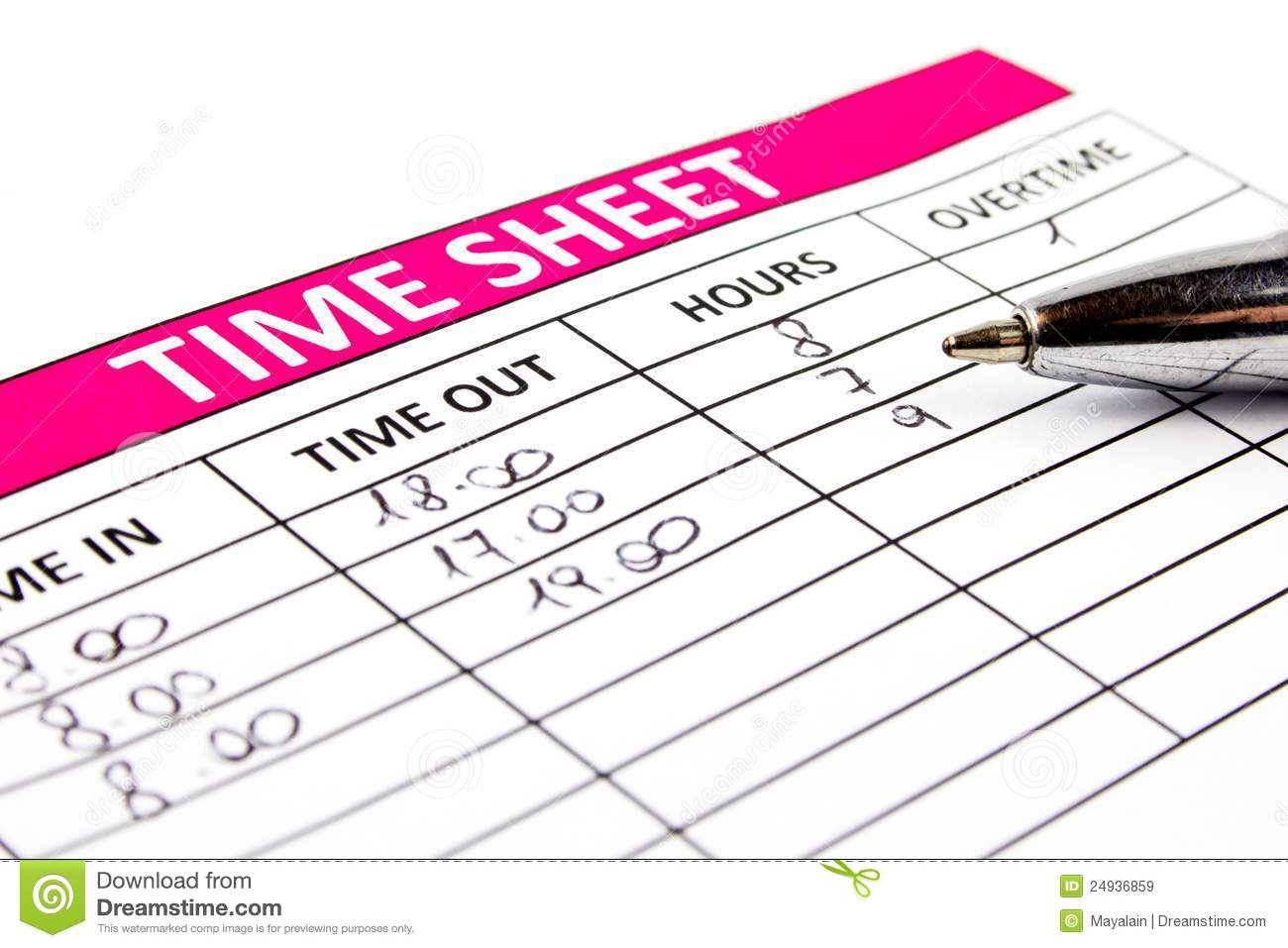 Filling Time Sheet Royalty Free Stock Images - Image: 24936859