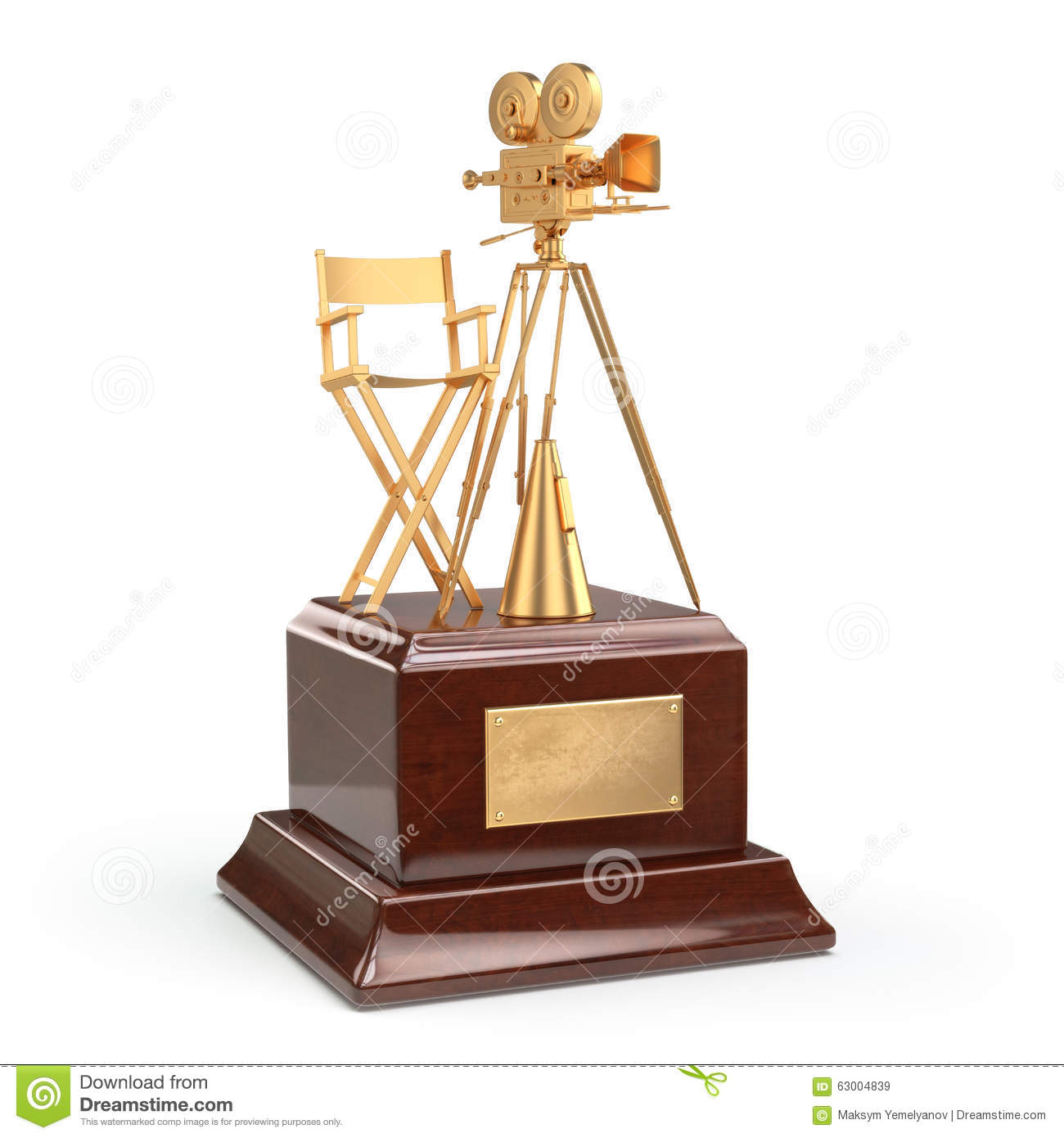 Film Award Gold Vintage Movie Camera And Chair Of The