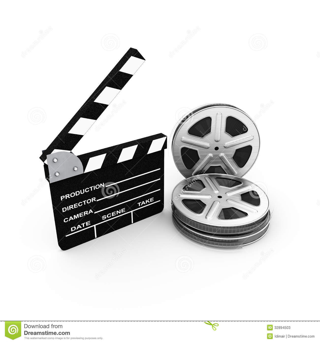 film and clap board cinema 3d stock photos image 32894503