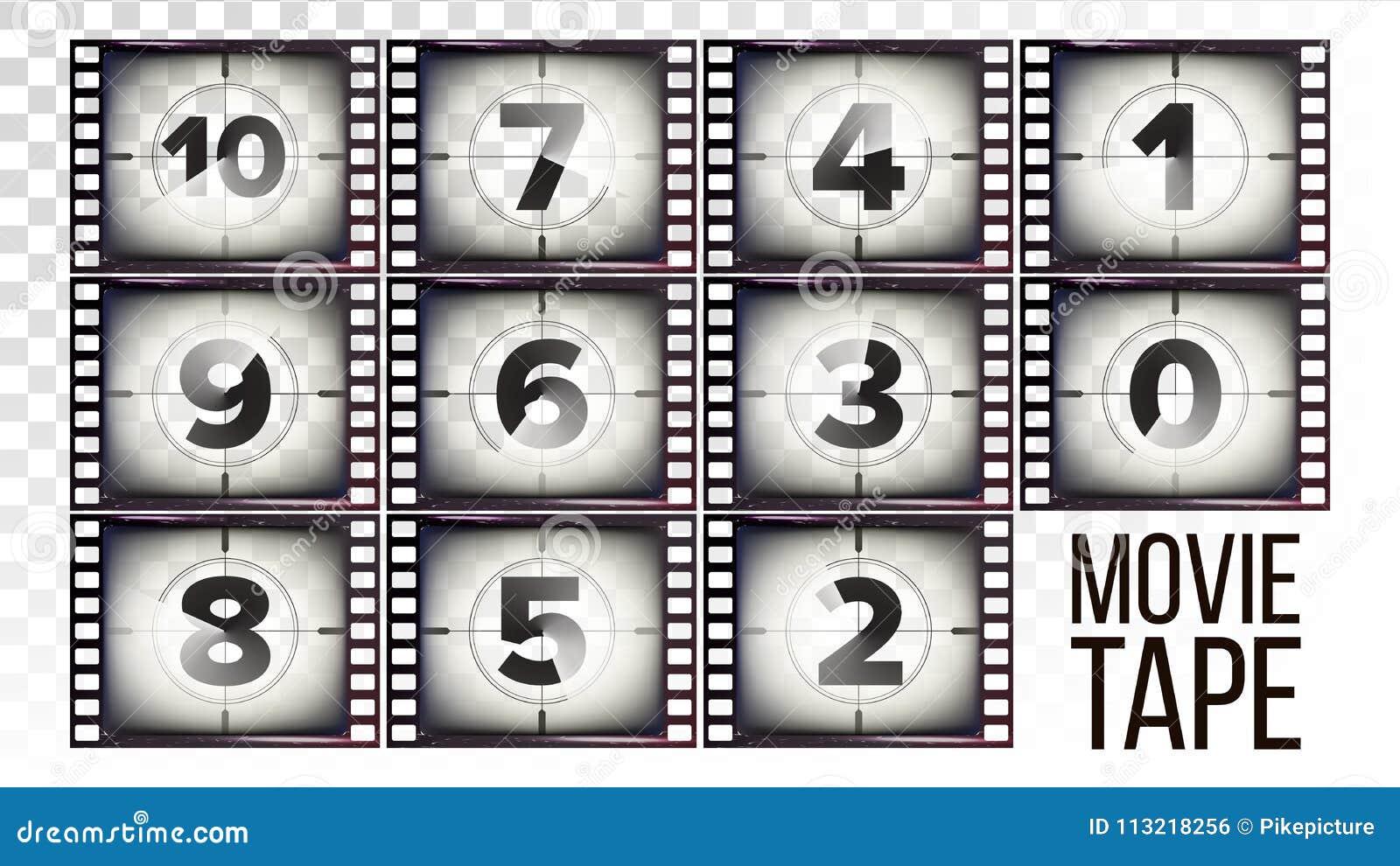 Movie Tape Countdown Vector  Monochrome Brown Grunge Film