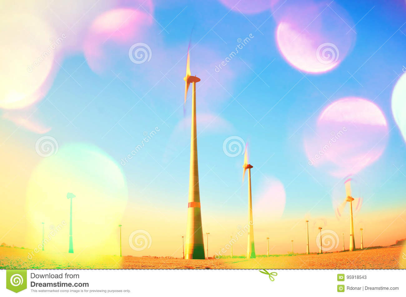 Film Grain  Wind Turbines Producing Electric Energy Within Sunny