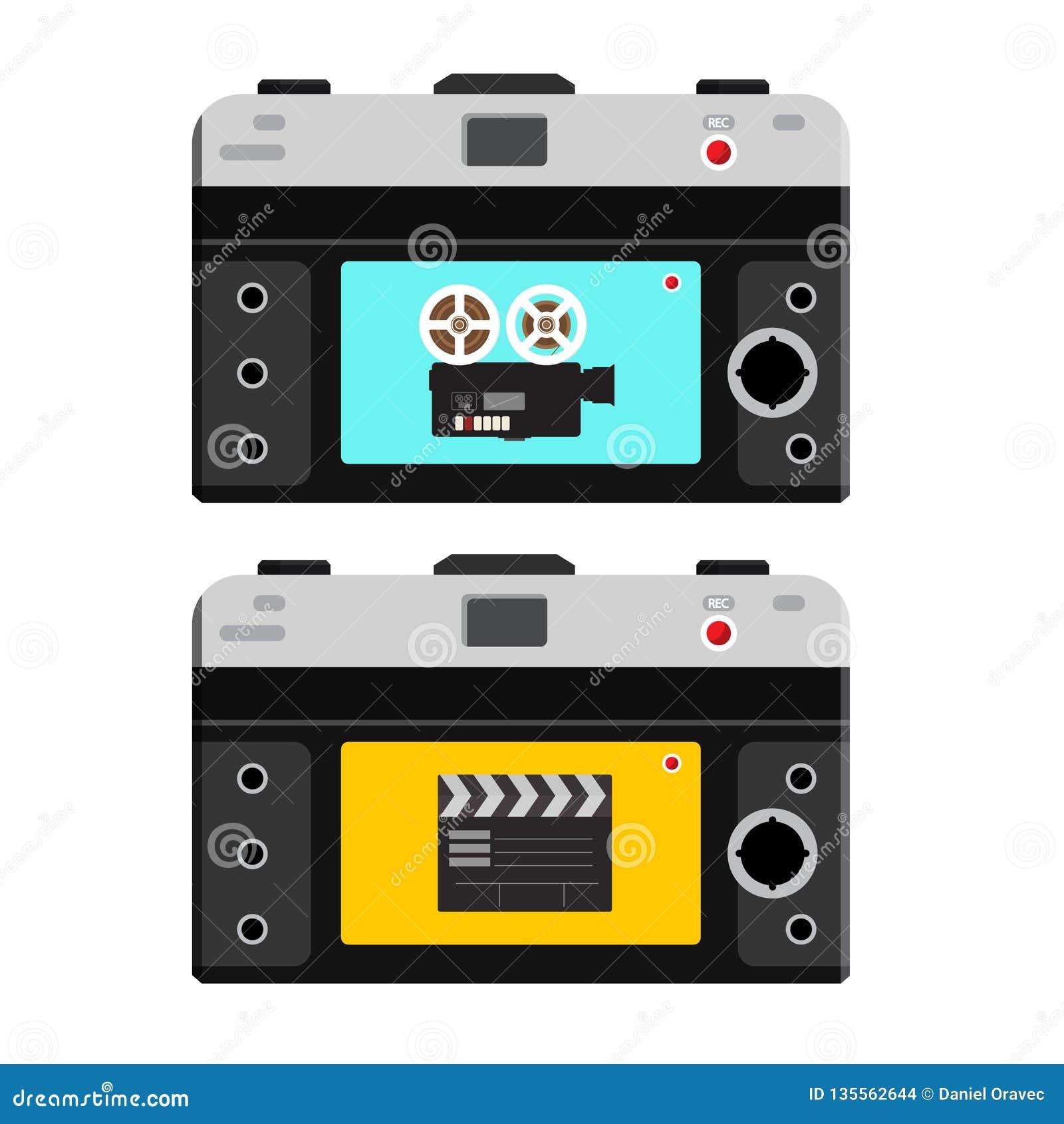 Film-Kamera und Scharnierventil-Brett auf Rückseite der Foto-Kamera Gesamtlängen-notierende Ikonen