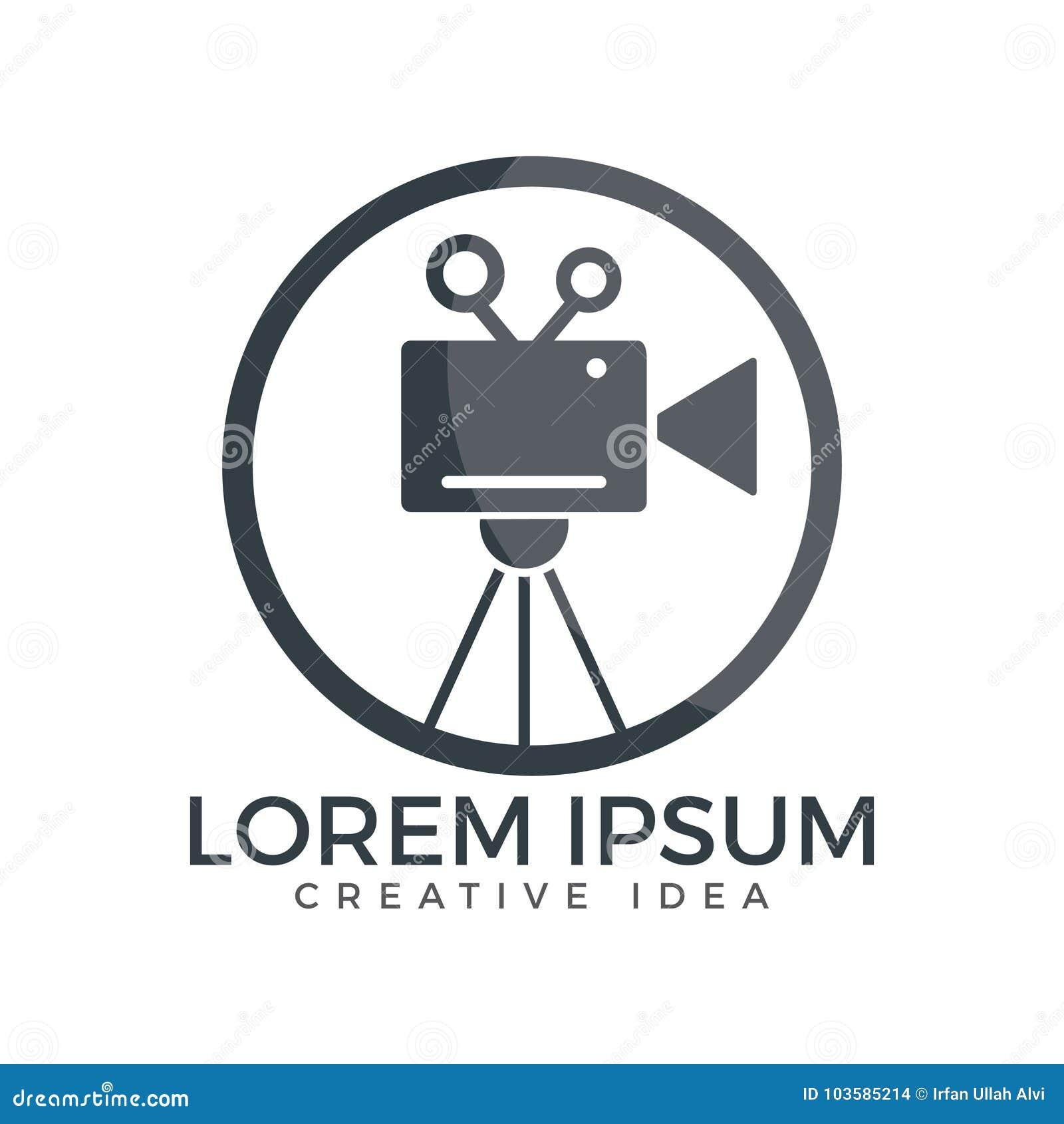 Film or movie camera logo design stock vector for Camera film logo