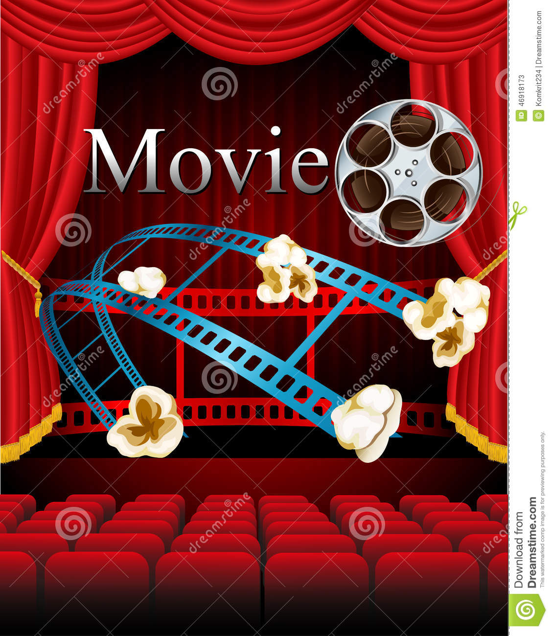Film Movies Cinema With Red Curtain Seat In Theater Stock Vector Illustration Of Cardboard Design 46918173