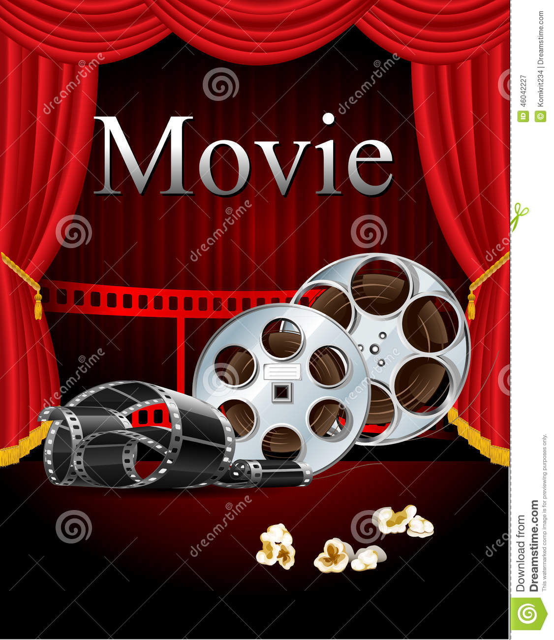 Film Movies Cinema With Red Curtain In The Theater Stock Vector Illustration Of Detailed 46042227