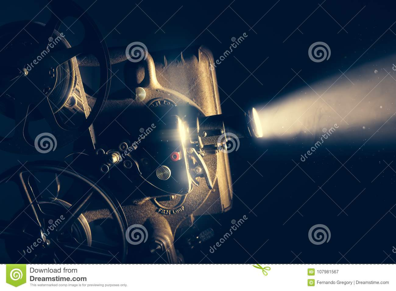 Download Film Projector With Dramatic Lighting Stock Image
