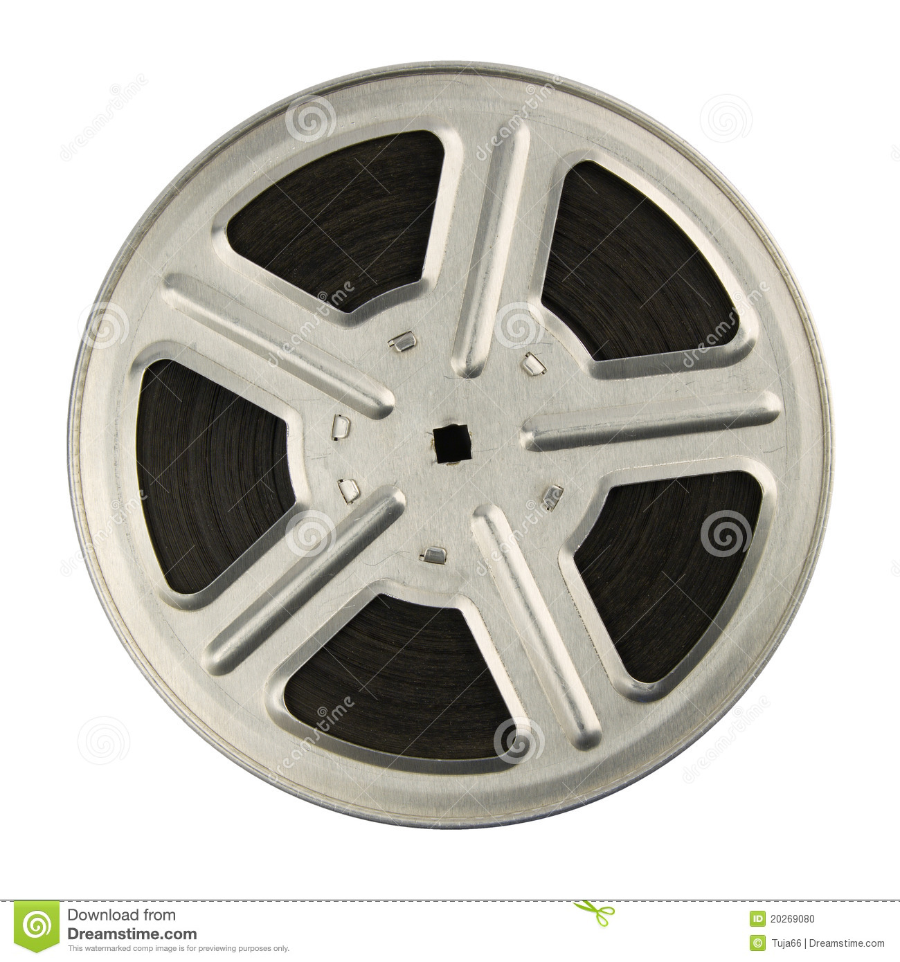 16 mm motion picture film reel, isolated on white background.