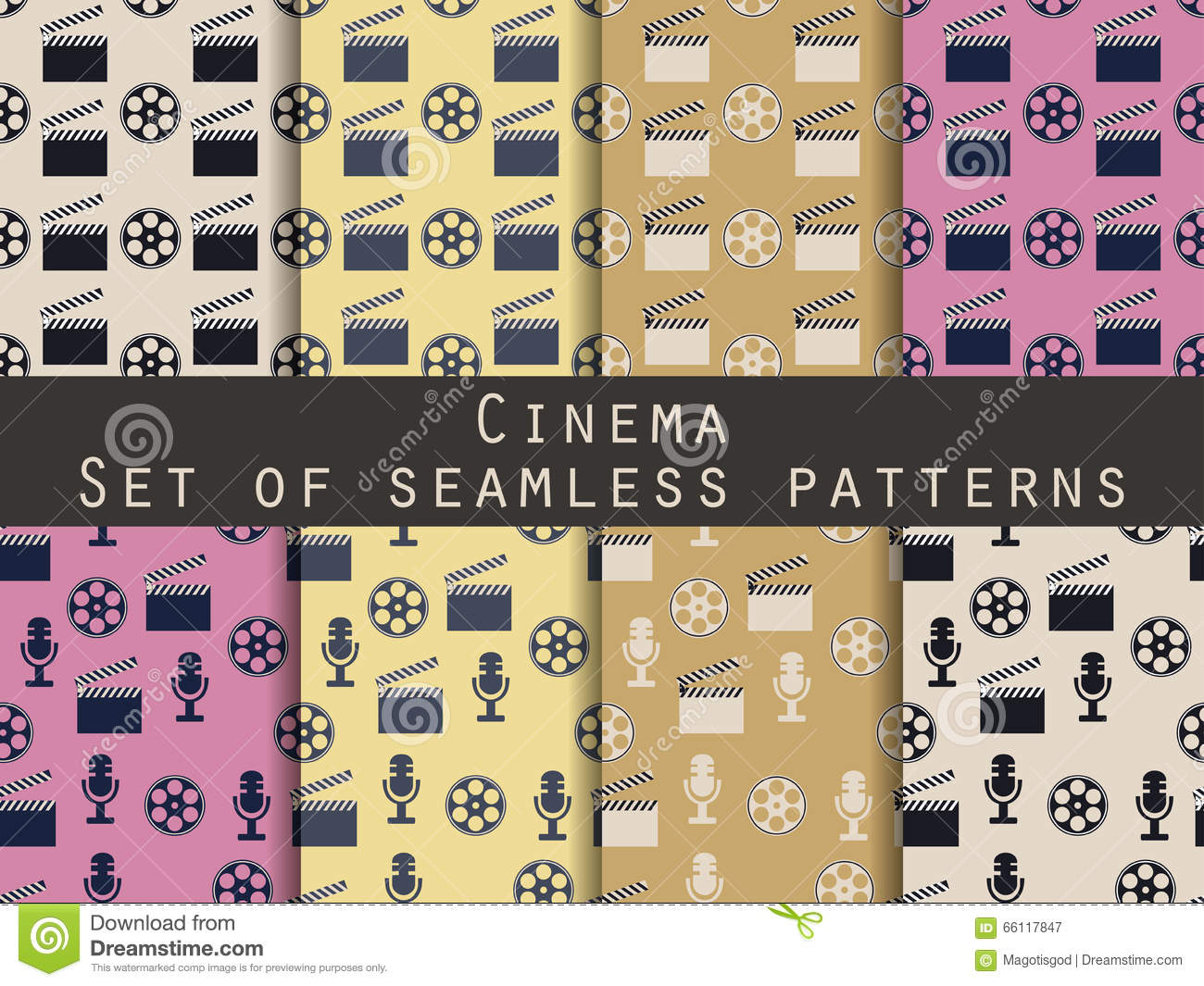 film reel and clapper board. set of seamless patterns. the patte