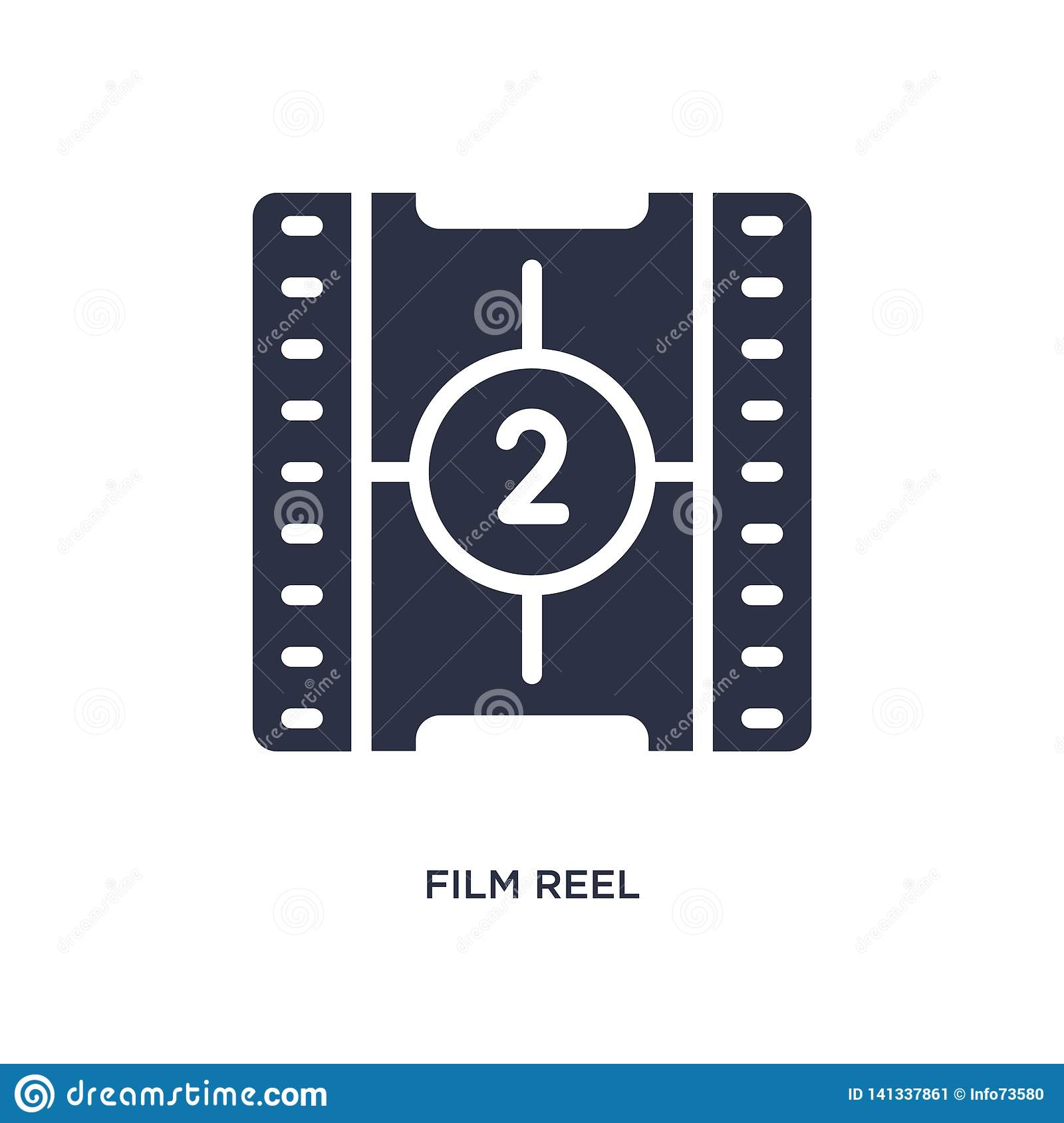 film reel countdown number 2 icon on white background. Simple element illustration from cinema concept