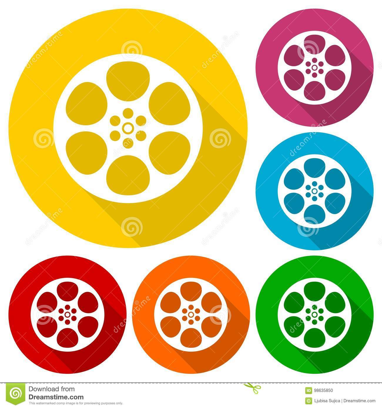 Film reel icons set with long shadow