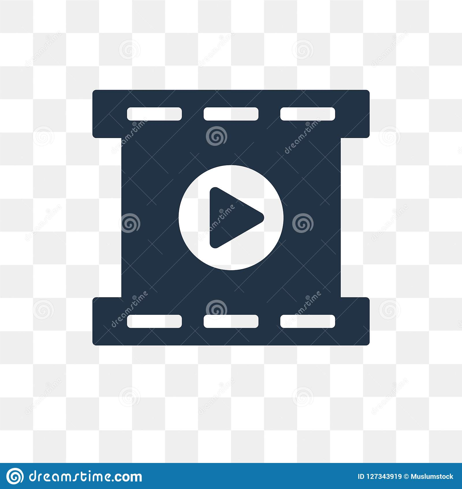 Film Reel Playing vector icon isolated on transparent background
