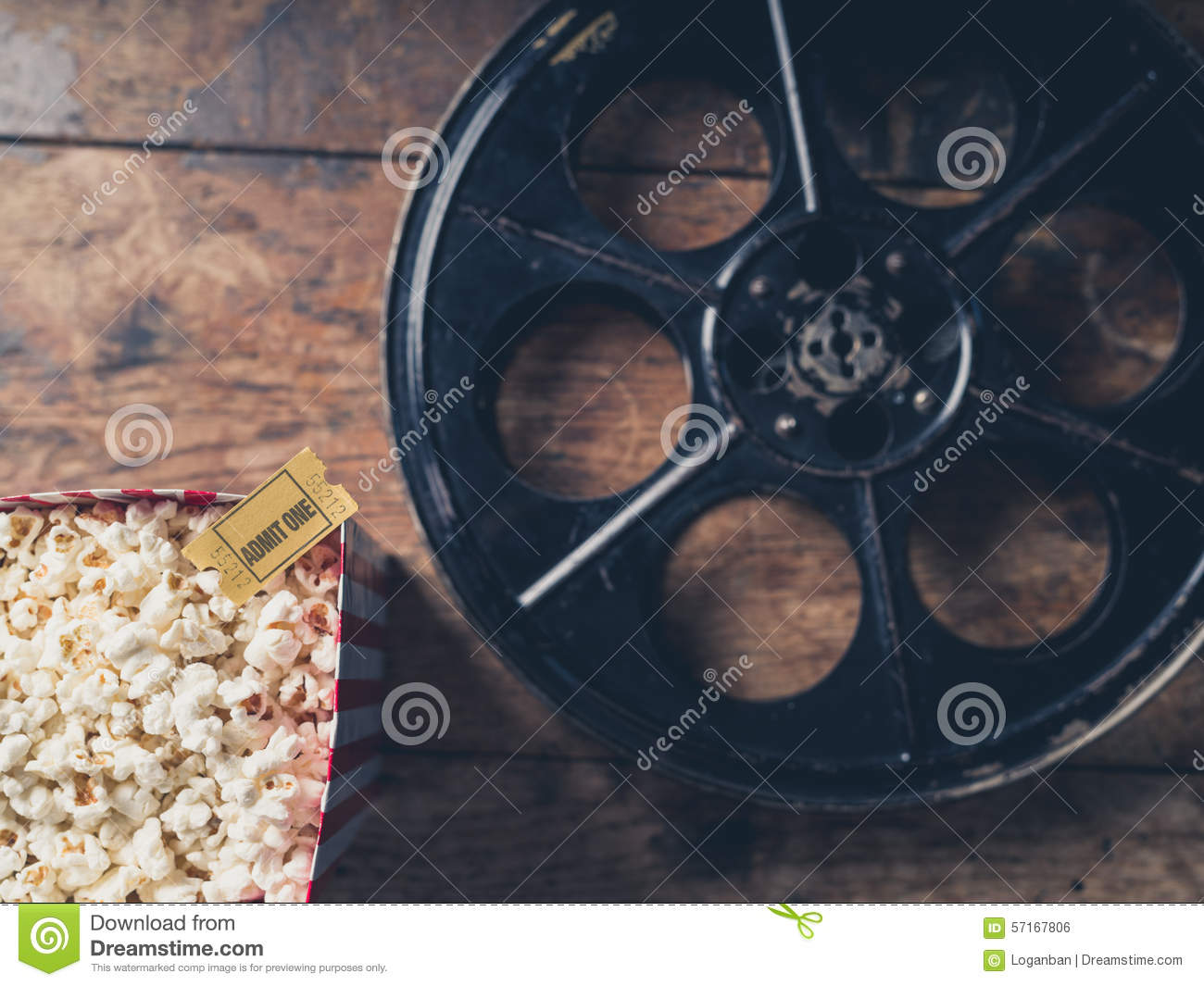 Download Film reel and popcorn stock photo. Image of white, hollywood - 57167806