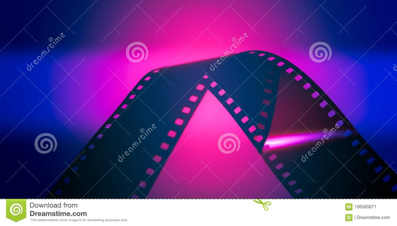 film roll over pink neon lights stock image image of cinemantic