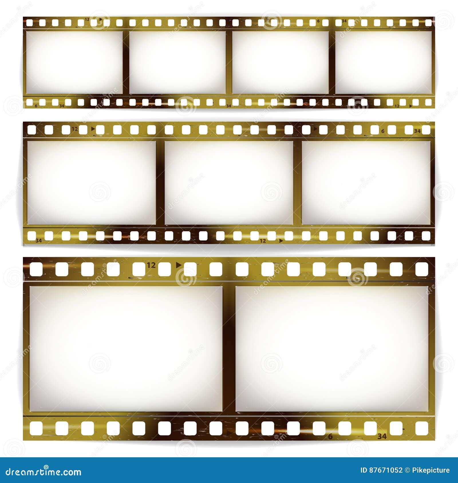 Film-Streifen-Vektor-Satz Kino Des Foto-Rahmen-Streifen-freien ...