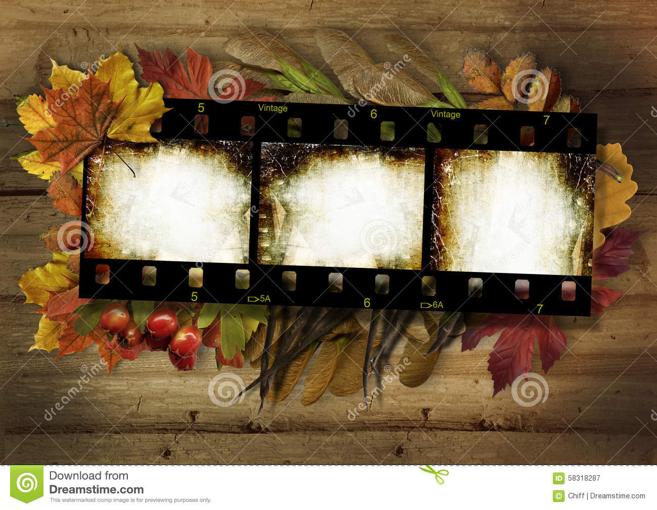 Film Strip And Autumn Border On Vintage Wooden Background