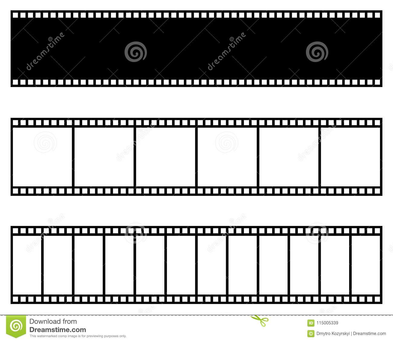 Film Strip Collection. Vector Template. Cinema, Movie, Photo ...