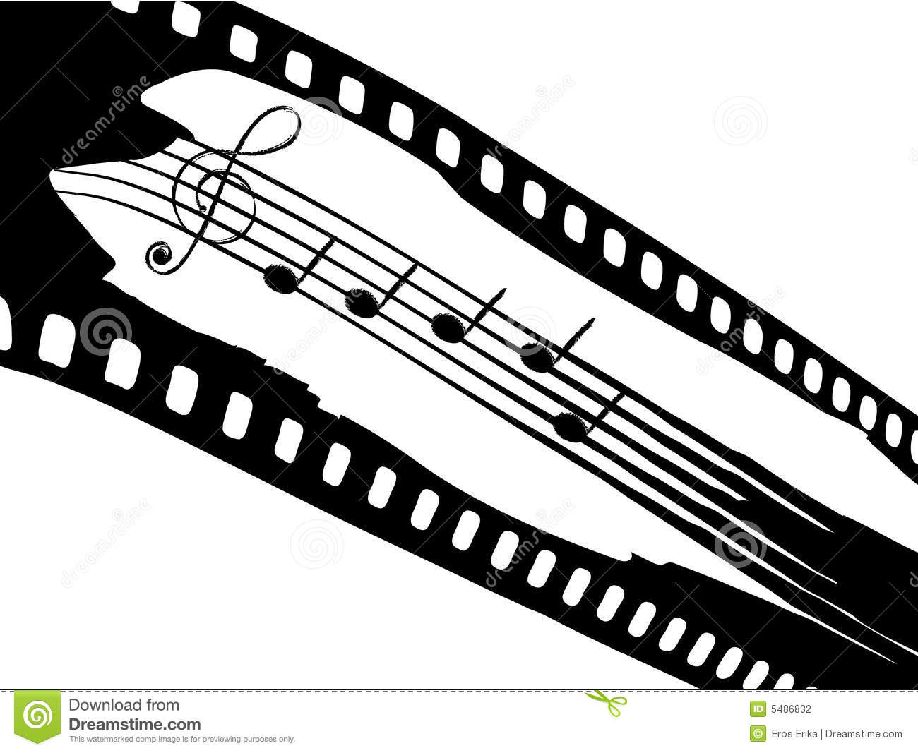 Film Strip With Elements Of Music Stock Photography - Image: 5486832