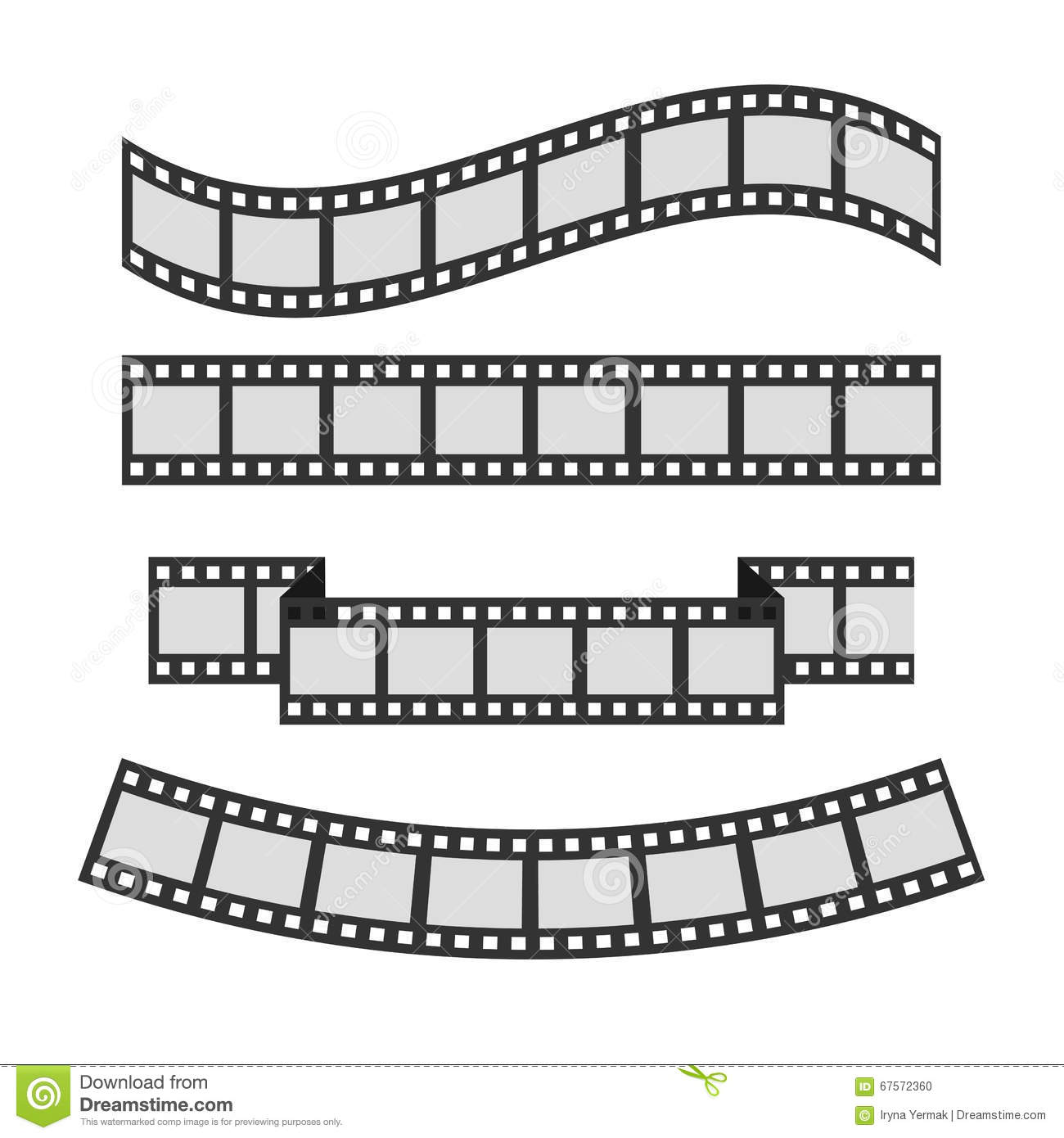 Film strip frame set different shape ribbon template for Film strip picture template