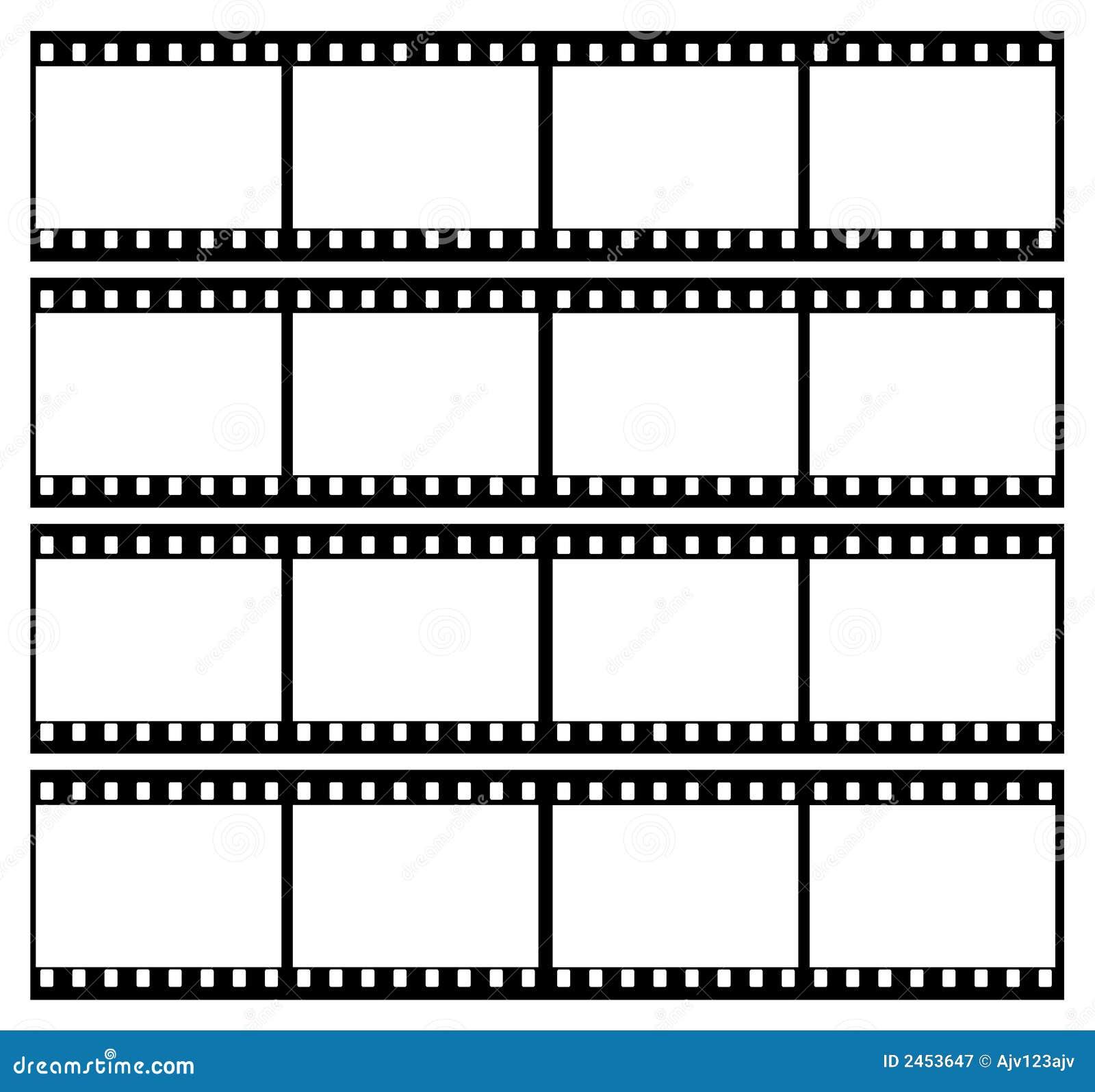 landscape image of 35mm film strip showing 16 black frames which ...