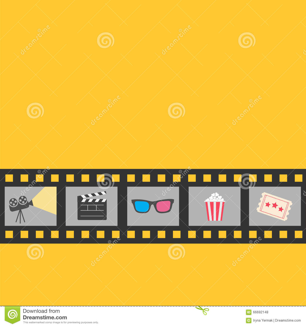 Film strip icon set popcorn clapper board 3d glasses for 3d flat design online