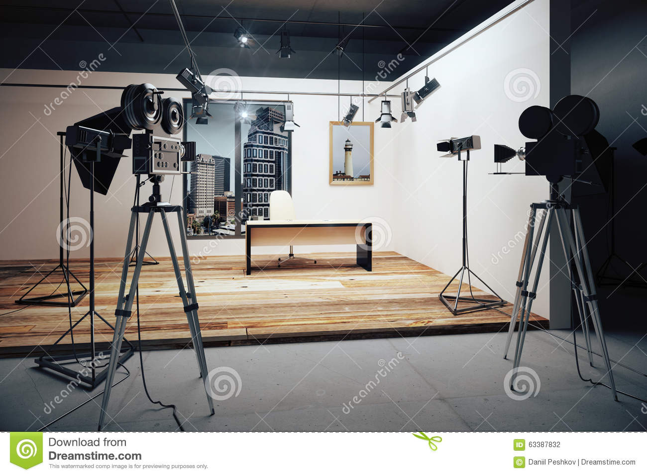 Film Studio With Cameras And Movie Equipment Stock Photo ...