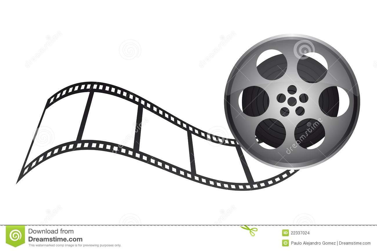 Film tape with film stripe over white background. vector.