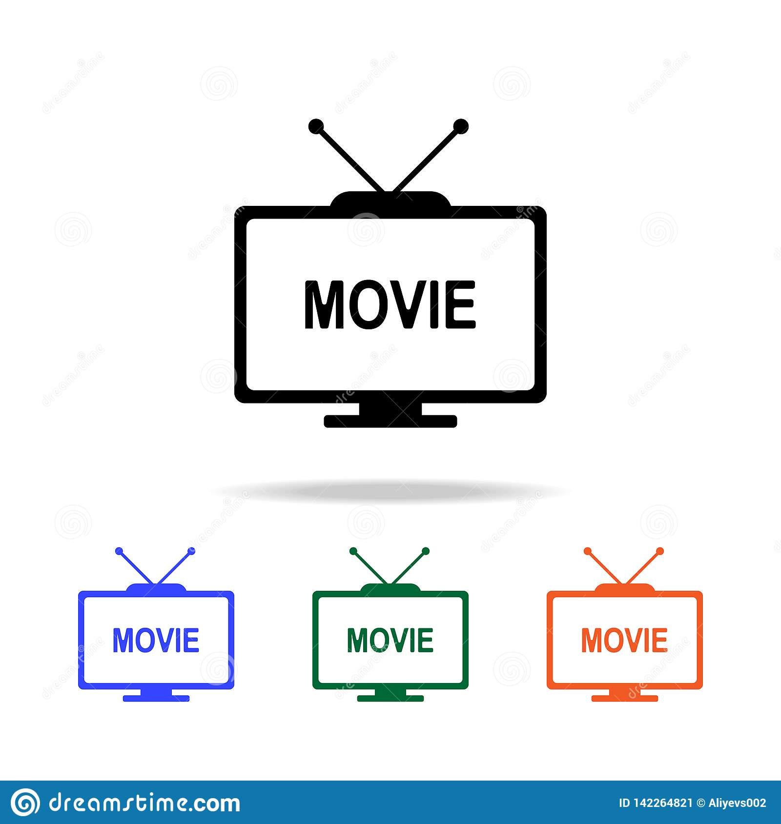 film on TV icon. Elements of simple web icon in multi color. Premium quality graphic design icon. Simple icon for websites, web