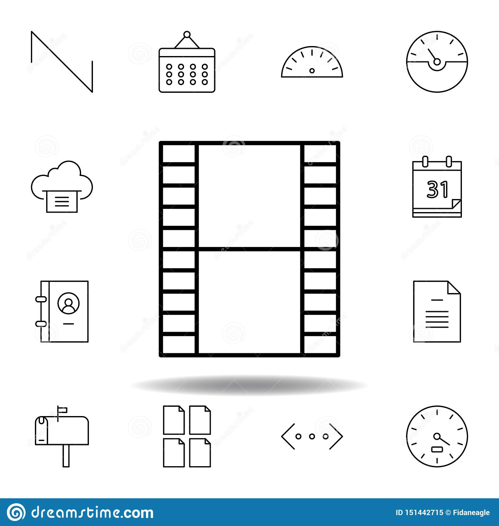 film video strip outline icon. Detailed set of unigrid multimedia illustrations icons. Can be used for web, logo, mobile app, UI,