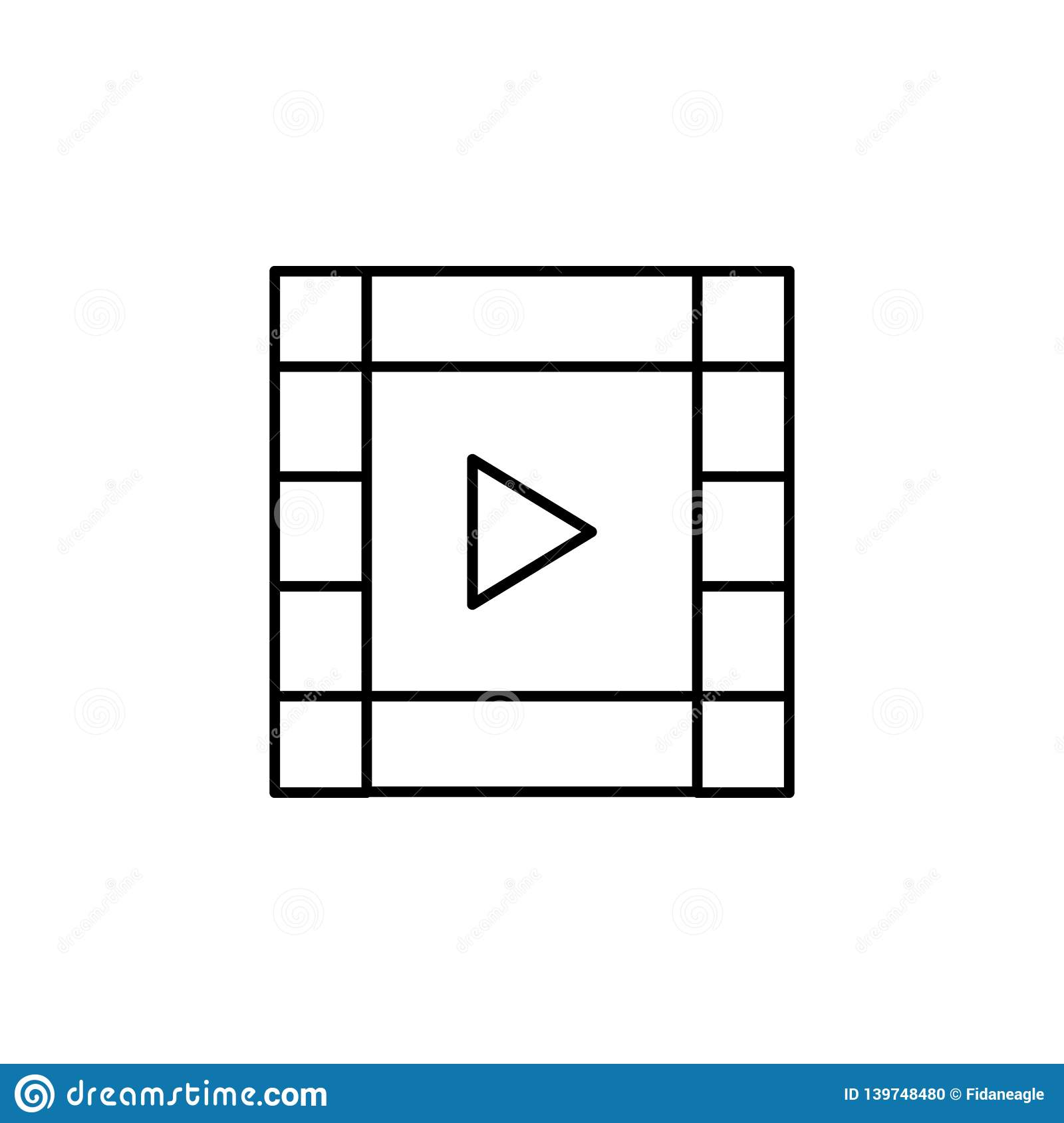 Film video strip outline icon. Signs and symbols can be used for web, logo, mobile app, UI, UX