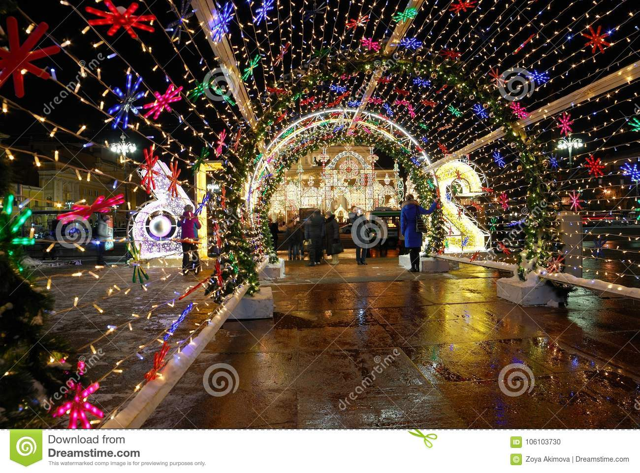 Festive decoration of the streets on the occasion of New year and Christmas, Moscow, Russia