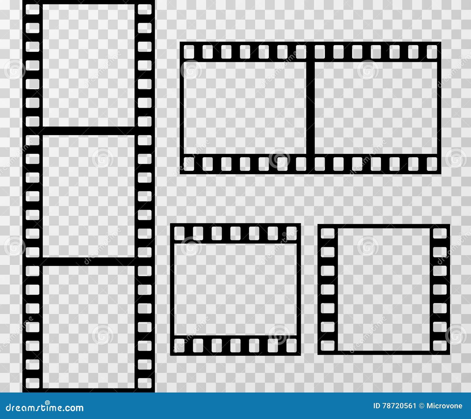 Filmez le calibre de vecteur de cadre de photo de bande d isolement sur le fond à carreaux transparent