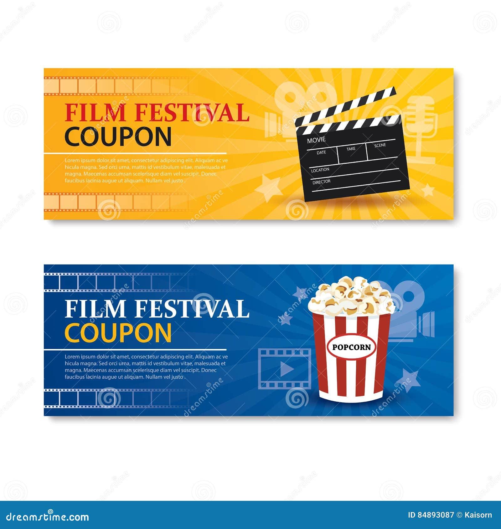 Filmfestivalfahne und -kupon Kinofilm-Elementdesign