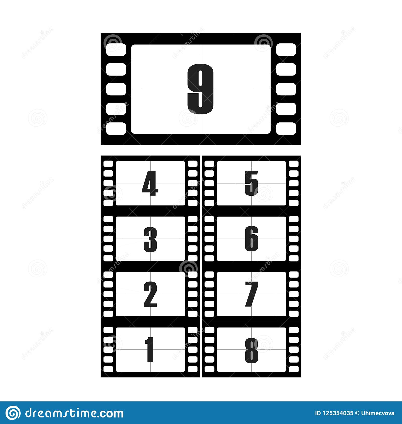 Filmnedräkningen numrerar vektoruppsättningen Nedräkningen till starten av den gamla filmen Tidmätarenedräkningbion som isoleras