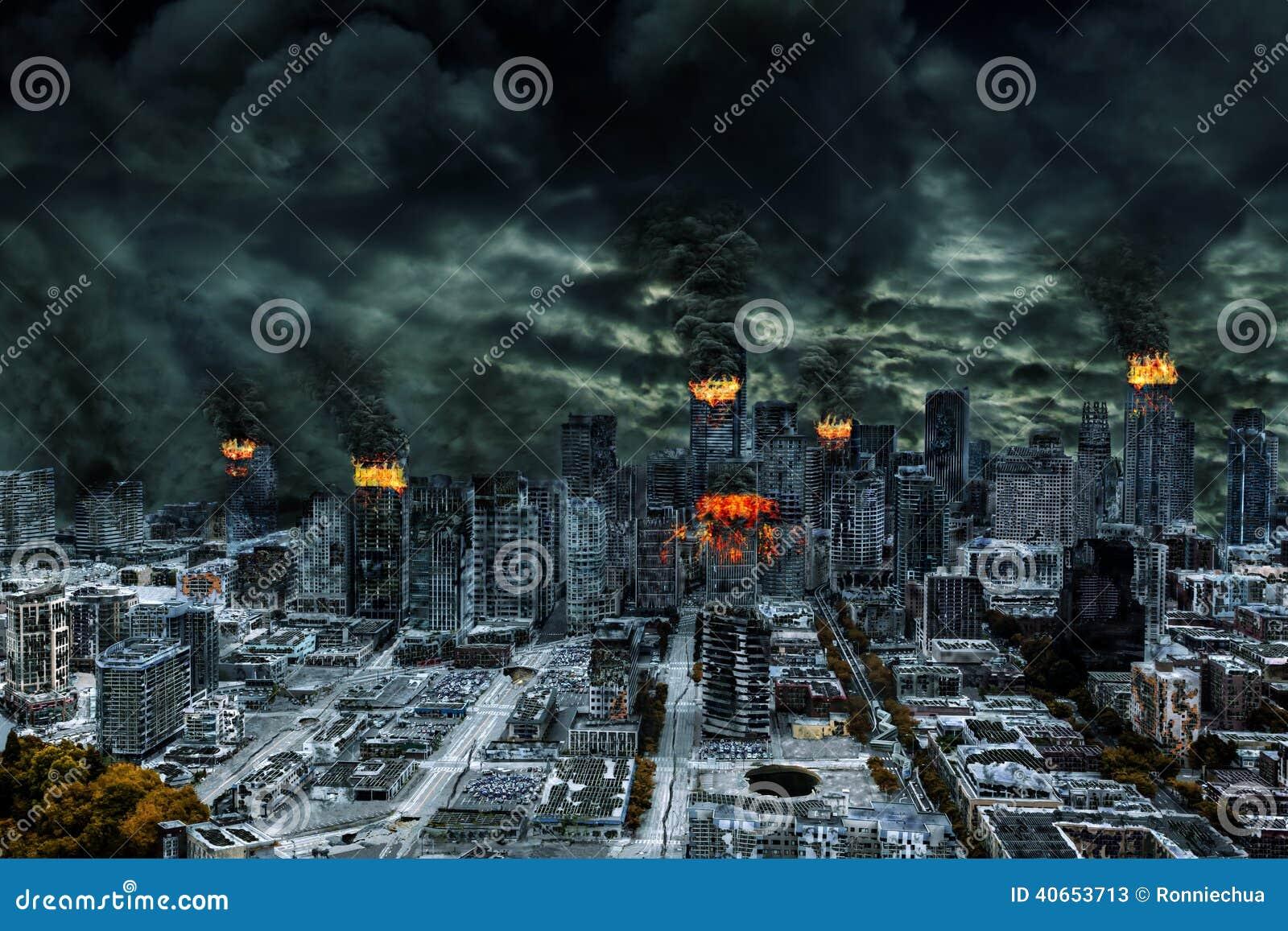 Filmowy przedstawienie Zniszczony miasto Z kopii przestrzenią