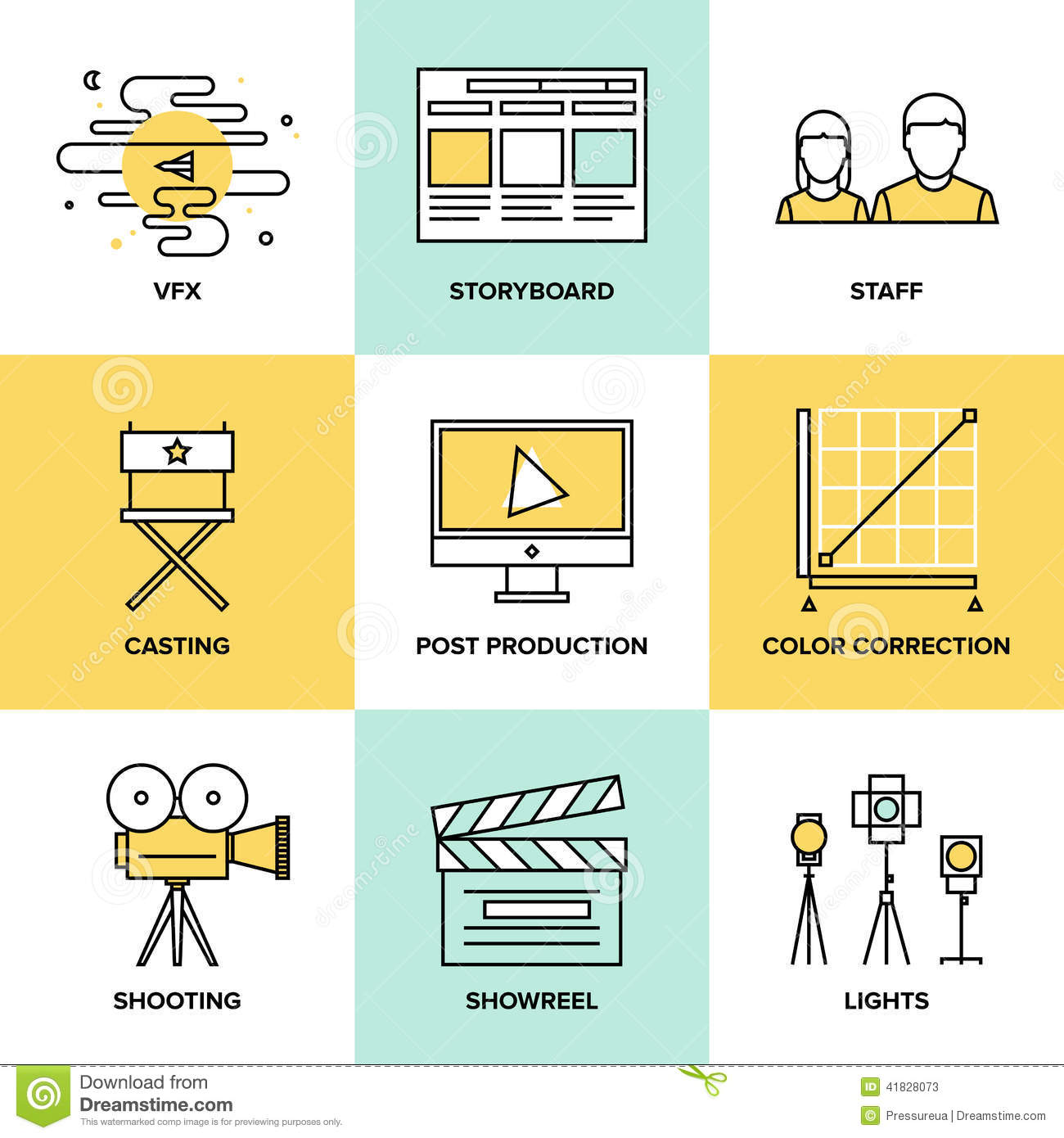 Films And Post Production Flat Icons Stock Vector ...