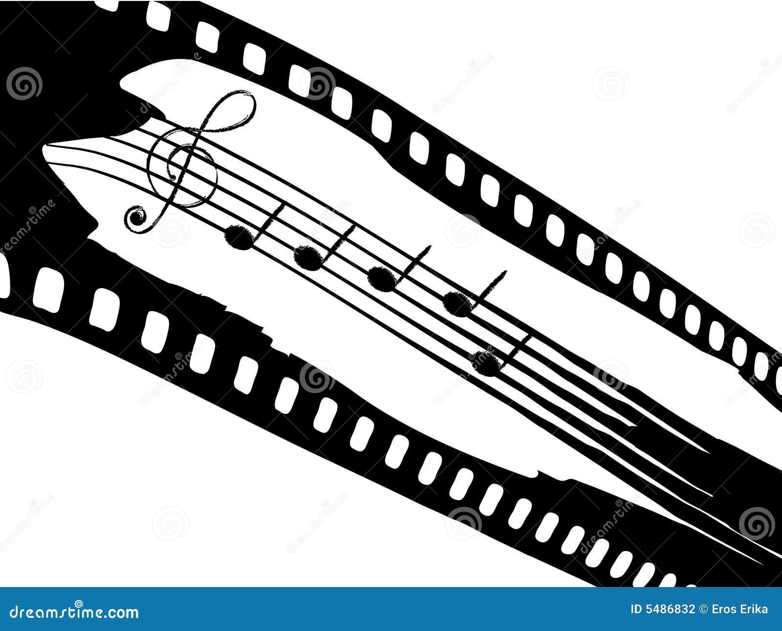 filmstreifen mit elementen von musik vektor abbildung illustration von graphik konzert 5486832. Black Bedroom Furniture Sets. Home Design Ideas