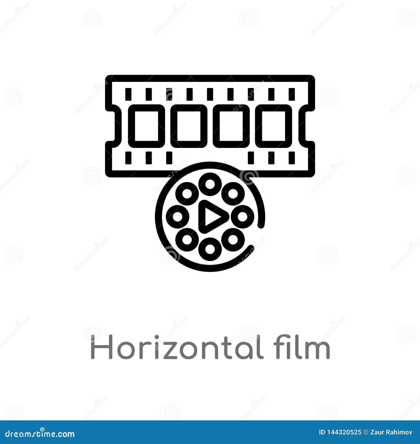 Filmstreifen-Vektorikone des Entwurfs horizontale lokalisiertes schwarzes einfaches Linienelementillustration vom Technologiekonz