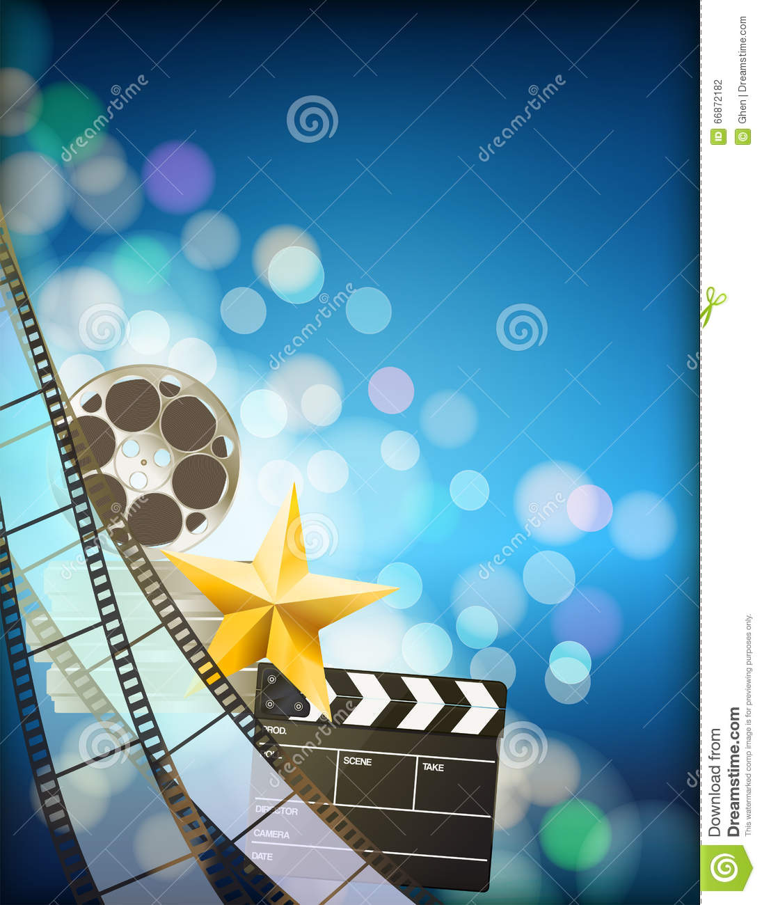 movie clapper board and golden film reel royalty