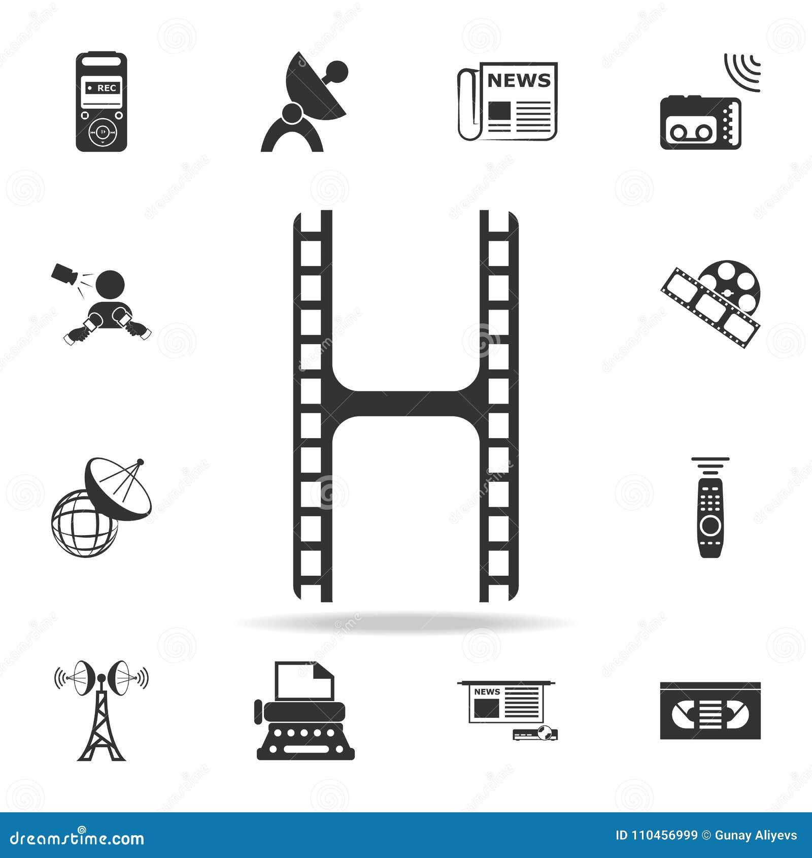 Filmsymbolen Detaljerade uppsättningsymboler av massmediabeståndsdelsymbolen Högvärdig kvalitets- grafisk design En av samlingssy