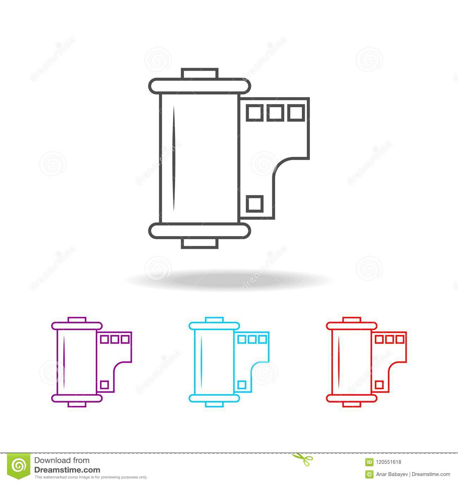 Filmsymboler Beståndsdelar av fotoet i mång- kulöra symboler Högvärdig kvalitets- symbol för grafisk design Enkel symbol för webs