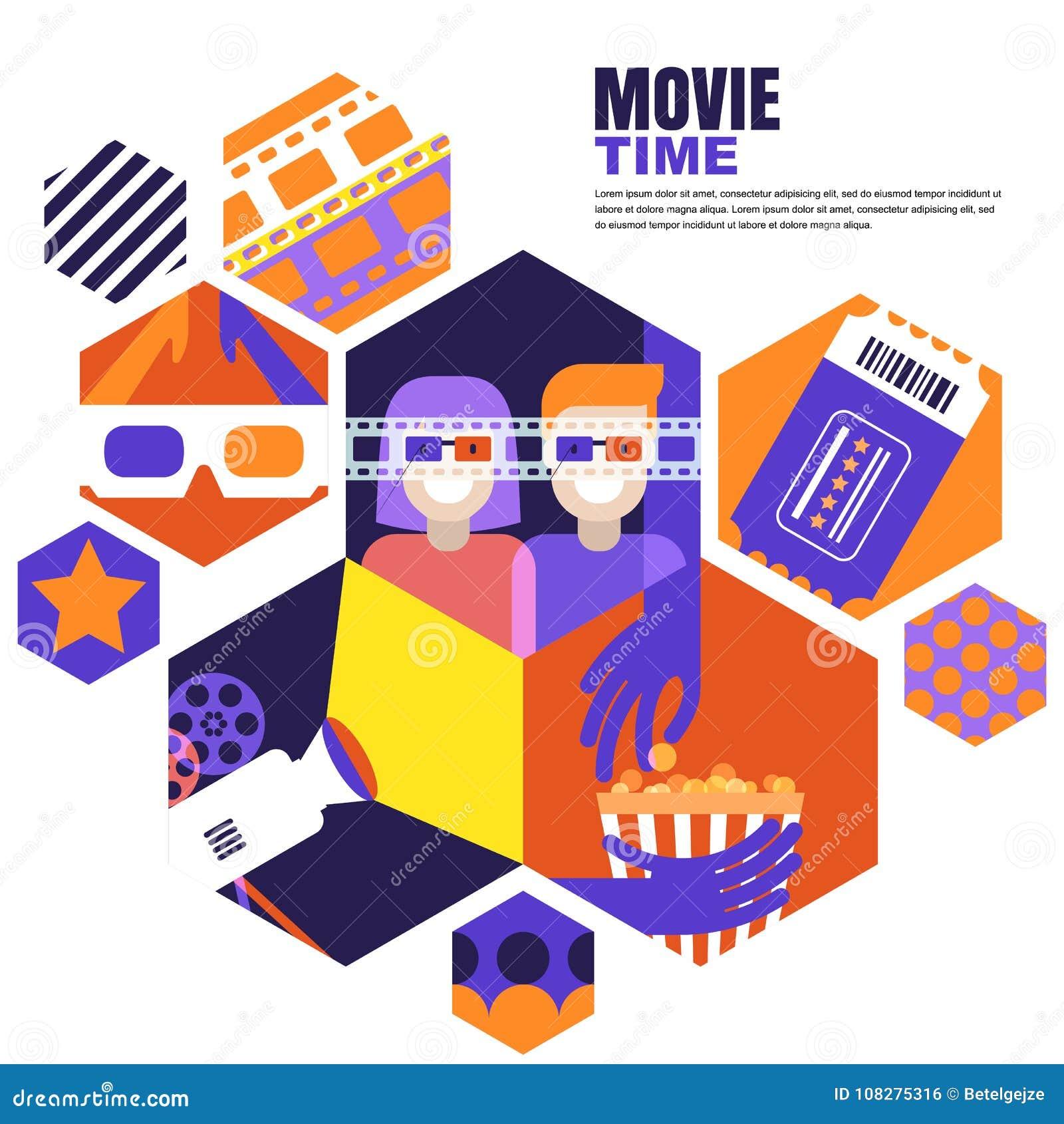 Filmtid, datum på biobegreppet Vektordesignbeståndsdelar för bioreklambladet, affisch, baner, försäljningsingångsbiljett