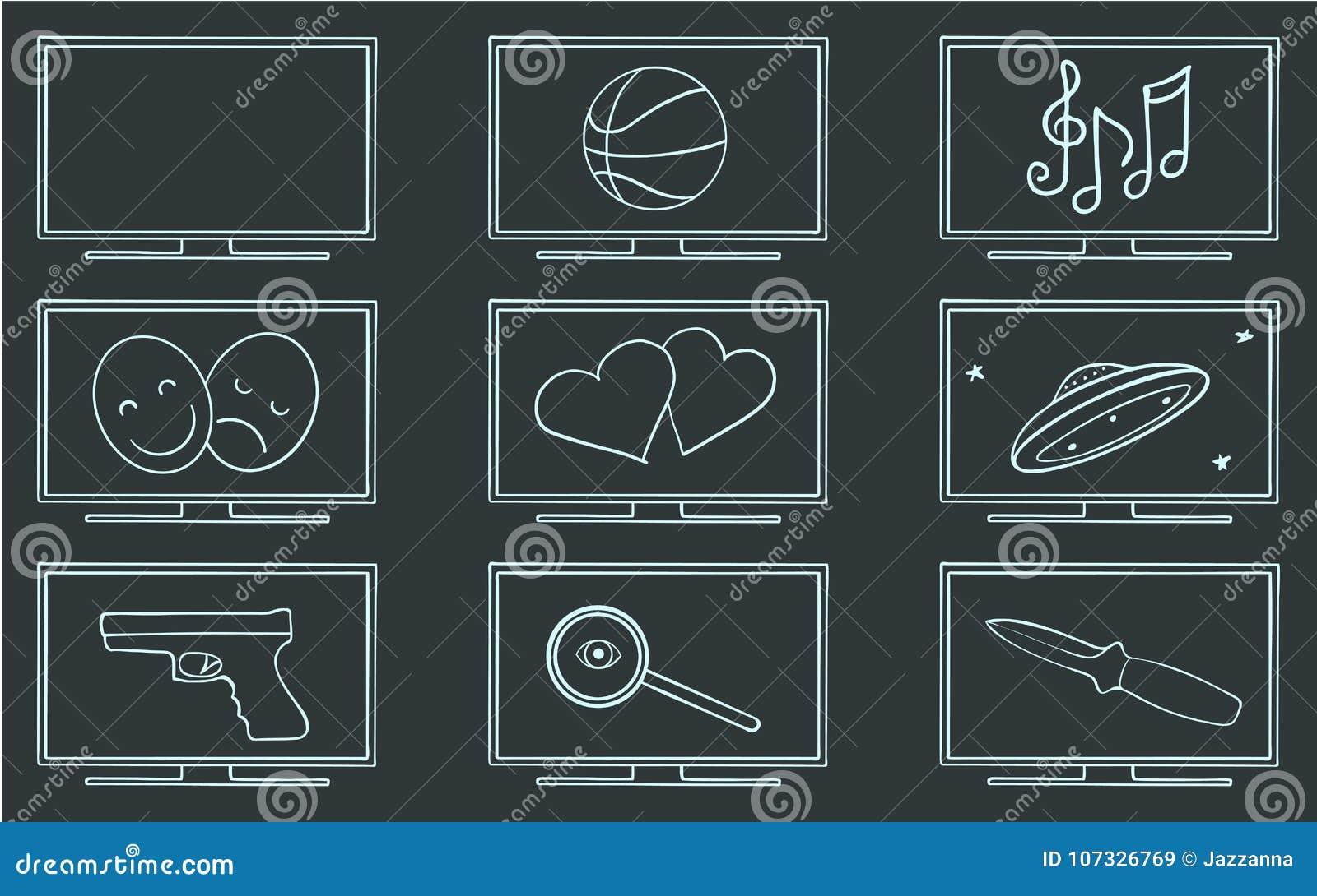 Filmu TV gatunków symbolu set