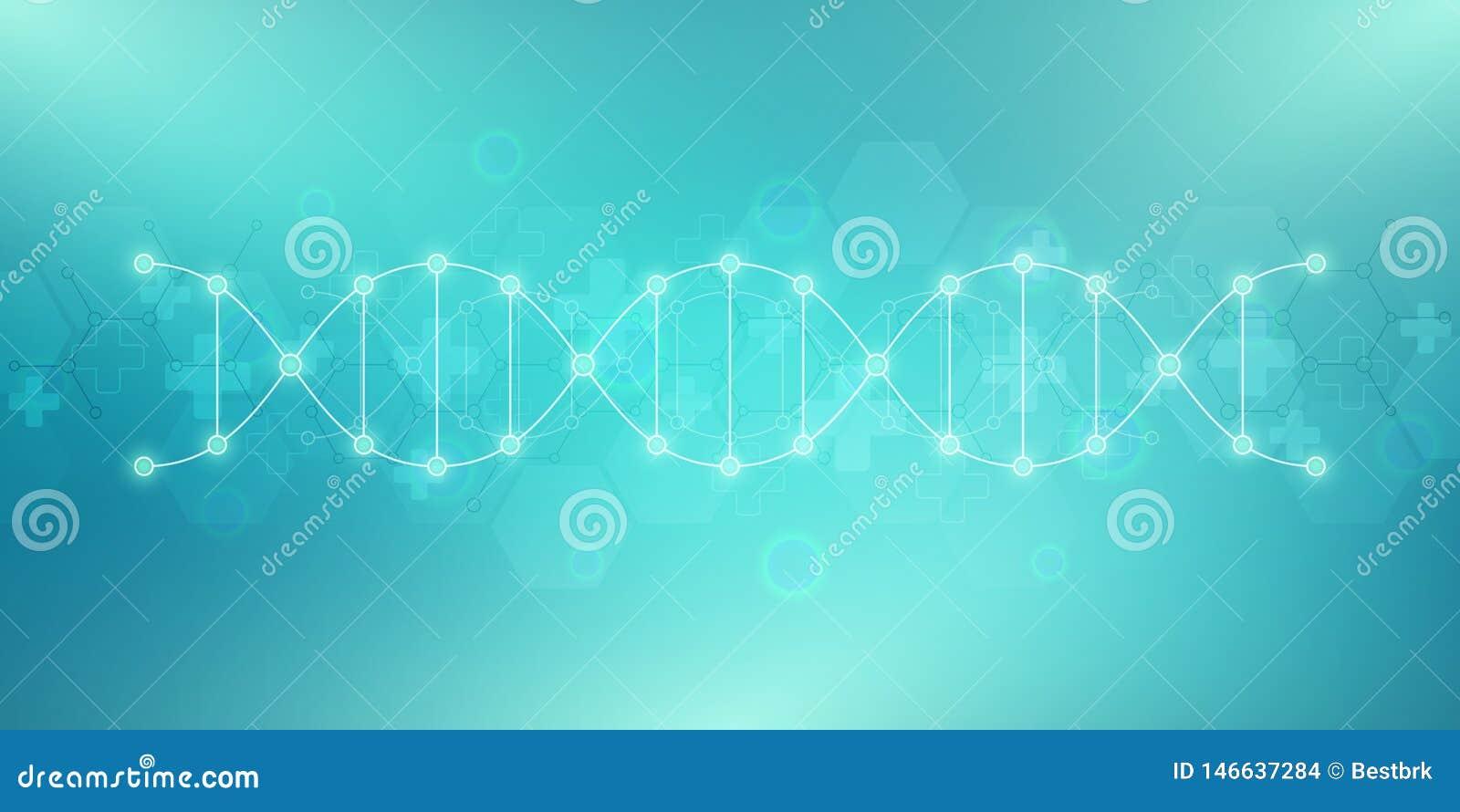 Filo del DNA e struttura molecolare Ingegneria o ricerca genetica del laboratorio Struttura del fondo per medico o
