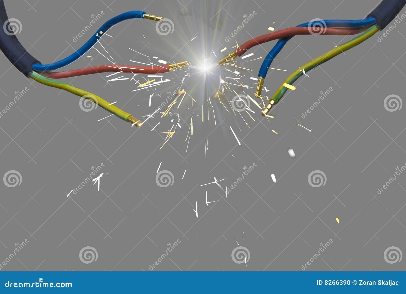 Fils de l étincelle électrique deux de charge