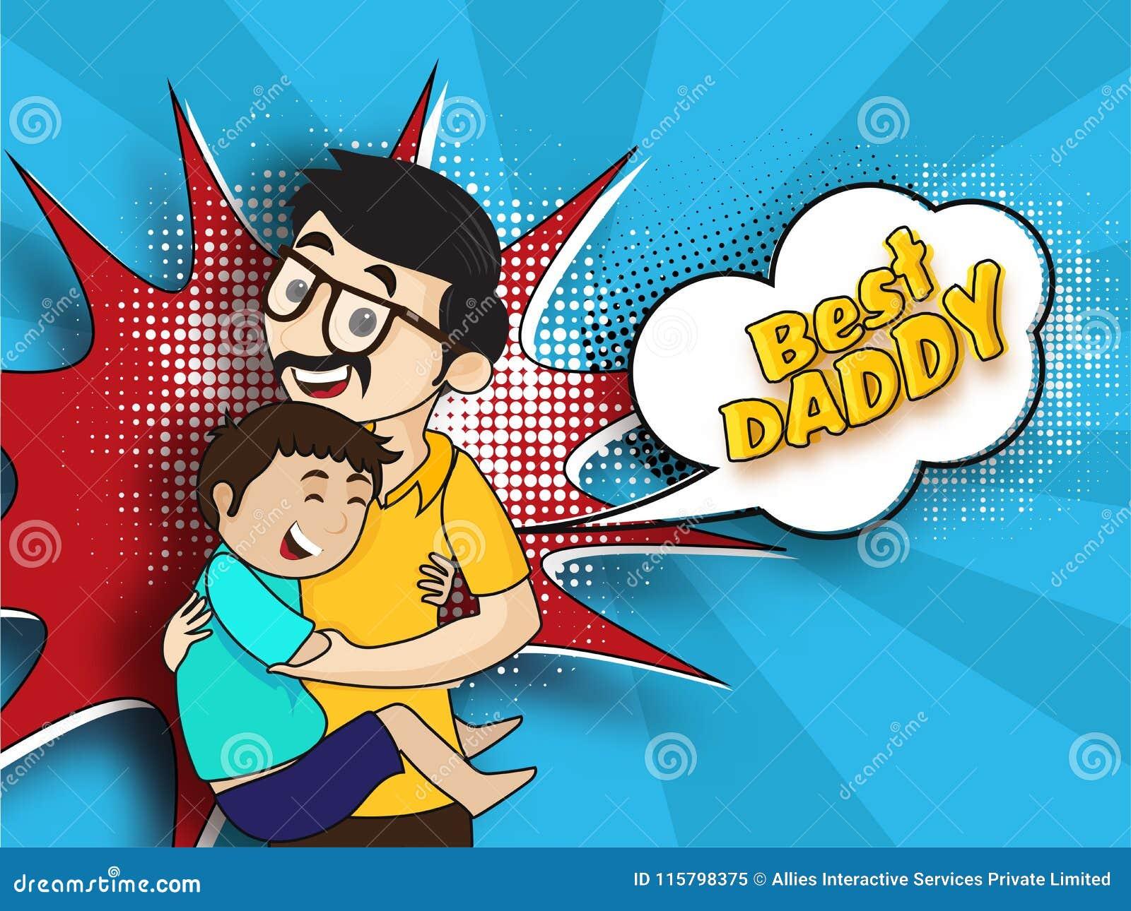Fils Heureux étreignant Son Père Le Meilleur Texte De Papa