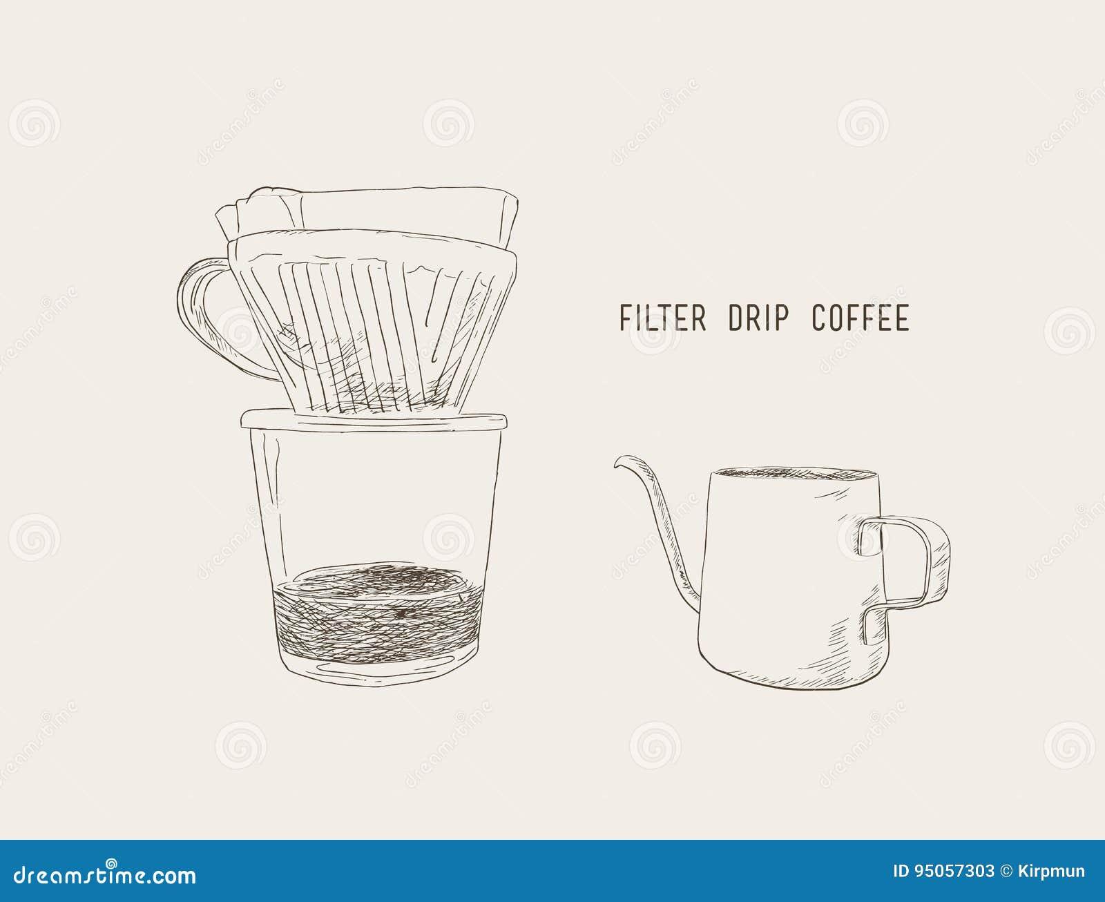 Filter Drip Coffee Sketch Vector Stock