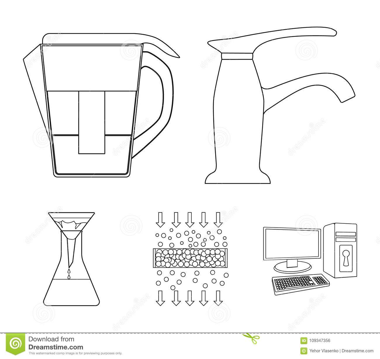 Filter Filtration Nature Eco Bio Water System Set Diagram Collection Icons