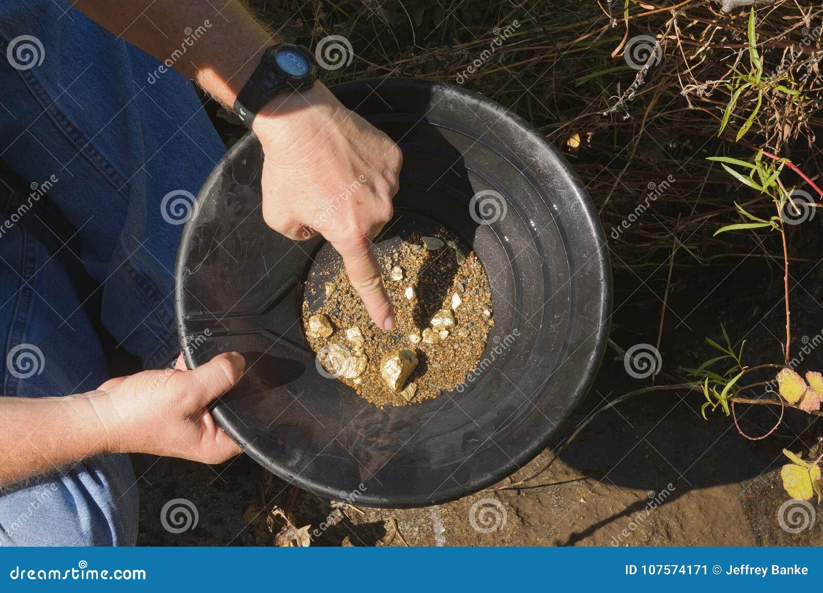 Filtração do ouro, apontando a uma pepita